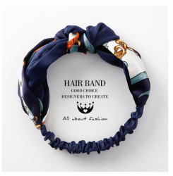 Cross Knotted Bow Chiffon Floral Hair Band