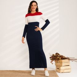 Navy Blue Casual Long Hooded Dress