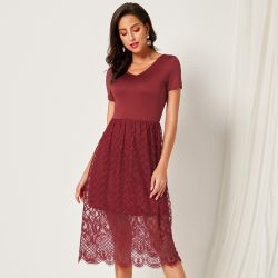Beautiful Lace Mid-length Frock